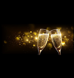 Glasses of champagne with bokeh effect vector