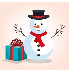 Snowman and gift blue bow design isolated vector