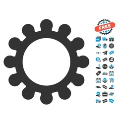 Gear icon with free bonus vector