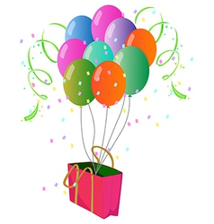 A pink paper bag with balloons vector