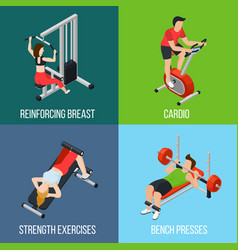 Gym people isolated icon set vector