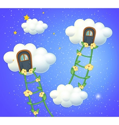 Clouds with doors in the sky vector