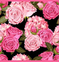 Beautiful roses and hydrangea seamless vector
