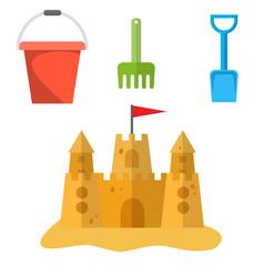 beach toys and sand castle vector image