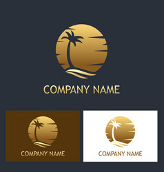 palm tree sunset logo vector image
