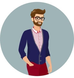 Hipster guy close-up vector