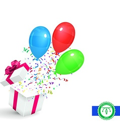 Gift with confetti and balloons background vector