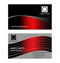 Dark red business card vector