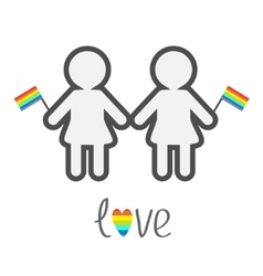 Gay marriage Pride symbol Two contour women with vector image