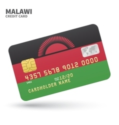 Credit card with malawi flag background for bank vector