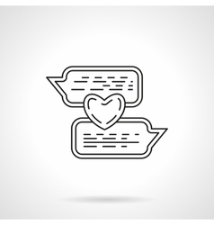 Love chat flat line icon vector