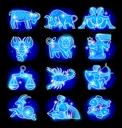 Set of blue linear zodiacal signs vector