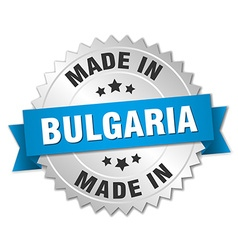 Made in bulgaria silver badge with blue ribbon vector