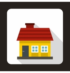 Small yellow cottage icon flat style vector
