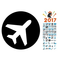 Avion icon with 2017 year bonus symbols vector