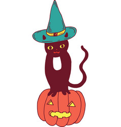 black cat with hat and pumpkin halloween vector image vector image
