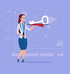 Business woman holding key safe security success vector