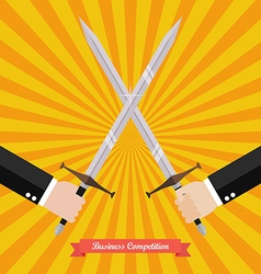 Businessman fighting with swords vector
