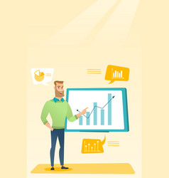 Businessman presenting review of financial data vector