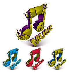 Collection of 3d demolished musical notes music vector
