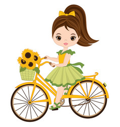 cute little girl riding bicycle vector image vector image
