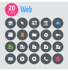 Flat minimalistic web icons on dark gray circles vector image