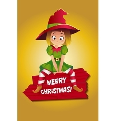 Girl in suit of christmas elf vector
