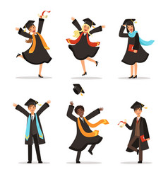 graduation of happy students at different nations vector image