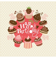 Greeting Birthday card vector image vector image
