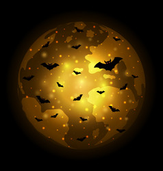 halloween flying bat world globe earth background vector image vector image