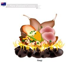 Hangi a traditional new zealand maori food vector