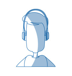 Man character wearing headphones device technology vector