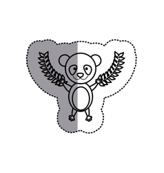 Monochrome contour sticker with panda bear and vector