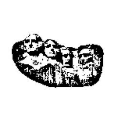 Mount rushmore black 8 bit minimalistic pixel art vector