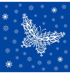 Ornamented abstract lace snowflake butterfly and vector image