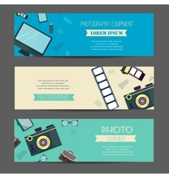 Photography horizontal banner set with vector image vector image