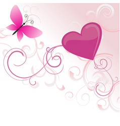 pink heart with flowers and butterfly isolated on vector image vector image