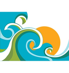 Sea with waves and sun vector