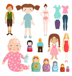 Set icons small girls dolls playing with toys vector
