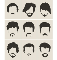 Set of hairmustachebeard silhouettes vector