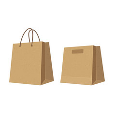 set paper brown shopping bags flat color vector image vector image