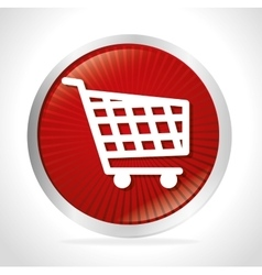 Shopping cart red button design vector