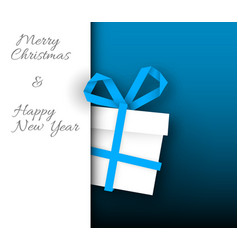 simple blue christmas card with gift box vector image vector image