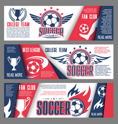 Soccer or football college team banners vector