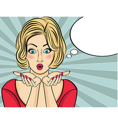 Surprised pop art woman Comic woman with speech vector image vector image