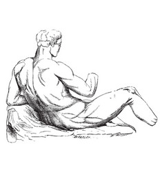 Theseus is an statue of greek sculpture vintage vector