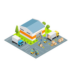 warehouse outside view isometric vector image vector image