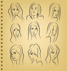 woman face on paper vector image vector image