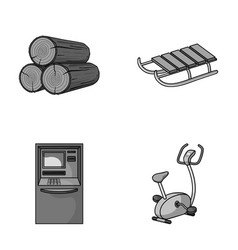 Wood industry finance and other monochrome icon vector