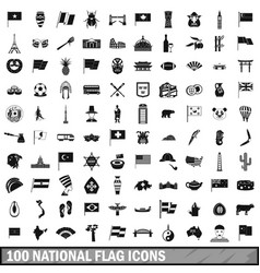100 national flag icons set simple style vector